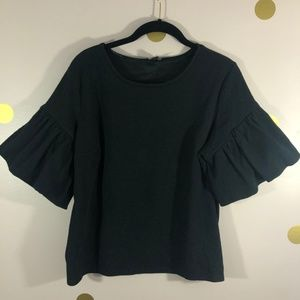 Express Black Scoop Neck Puff Sleeve Cotton Blouse